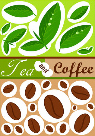 Tea and coffee   background Vector