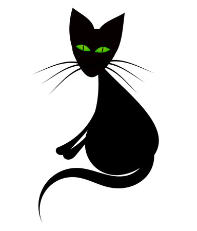 Black cat with green eyes sitting Stock Vector - 8734144