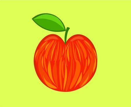 speckled: Red speckled apple over light green background