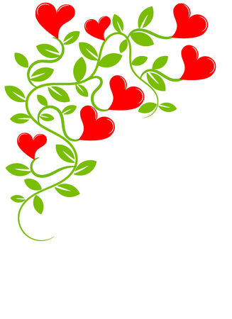 Plant creeper with flowers hearts Vector