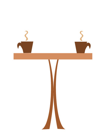 coffee shop: Coffee table with two cups of steaming coffee