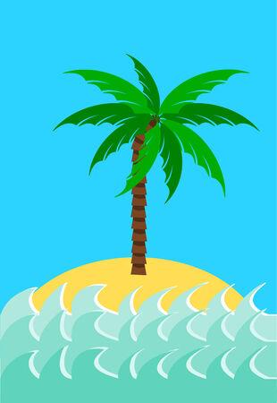 Desert island with palm tree illustration Stock Vector - 8734146