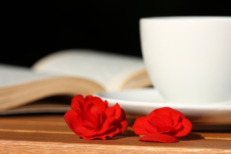 Two red flowers looking like roses, cup of coffee and book on the table. Coffee in the garden Stock Photo - 8734155