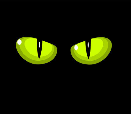Green wild cat eyes over black background