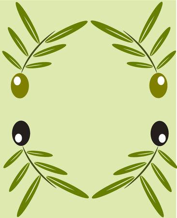 aceite de oliva virgen extra: Marco de ramas de olivo negro y verde. Copyspace