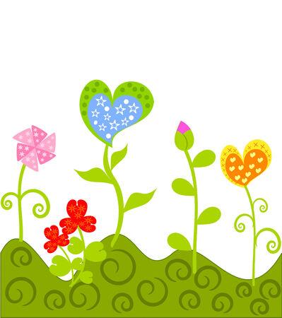 margine: Coloratissimi fiori astratti crescente sul prato