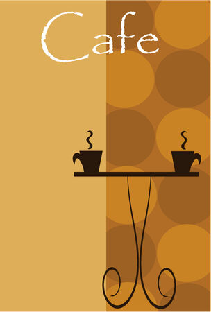 brewing: Cafe backgroud. Coffee table with two steaming cups. Copy space