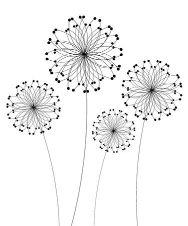pistil: Abstract dandelion flowers over white. Vector illustration Illustration