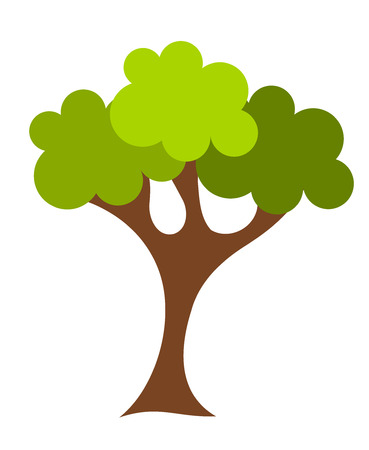Green cartoon oak tree vector illustration