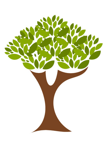 ecology emblem: Illustration of tree full of green leaves