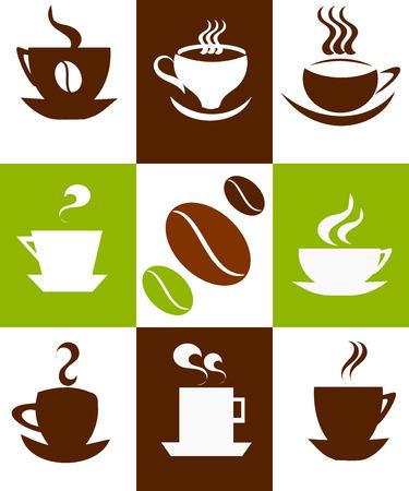 chicchi caff� su sfondo bianco: Caff� sfondo con cups. Illustrazione vettoriale Vettoriali