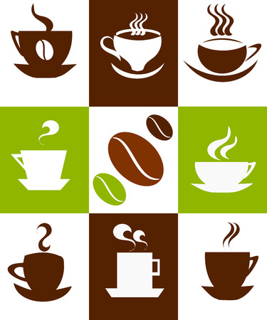 green coffee beans: Coffee background with cups. Vector illustration Illustration