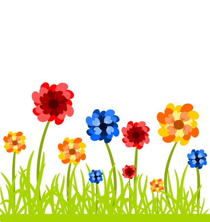 june: Colorful flowers in the grass. Vector illustration over white Illustration