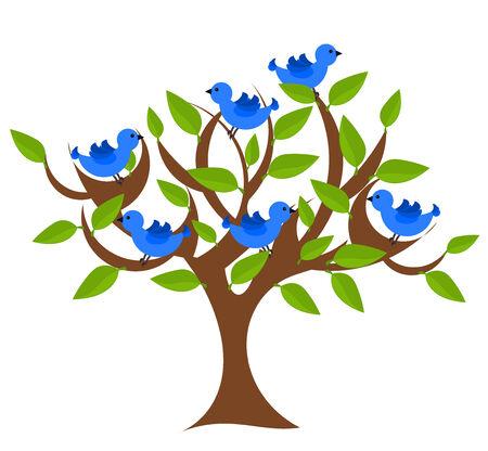 Fantasy tree with blue birds. Vector illustration Vector
