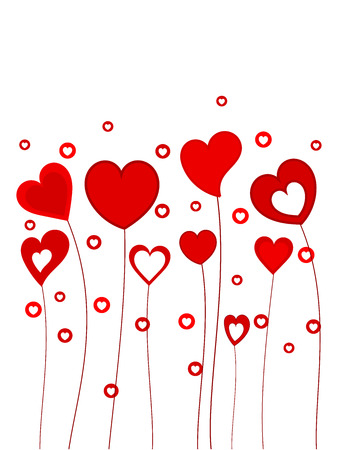 sweet love: Funny hearts growing on long stems. Vector illustration