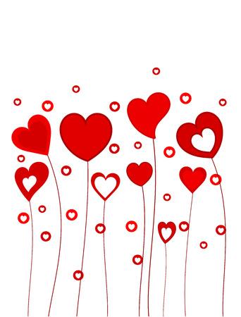 Divertido corazones crecen en tallos largos. Ilustración vectorial