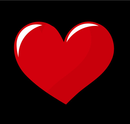 shiny black: Big vector red heart over black background