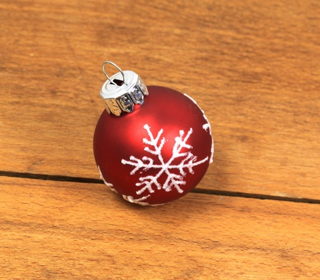 Christmas red glass ball with ornament snowflake photo