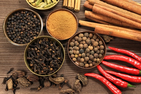 rustic food: Spices - top shot of whole various kinds background