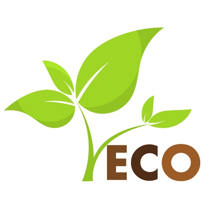 ecology emblem: Environmental icon with eco plant. Vector illustration