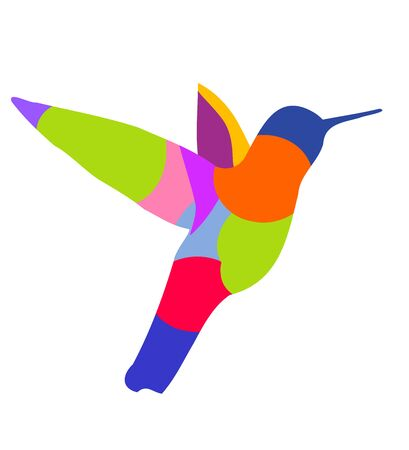 bird of paradise: Multi colored hummingbird silhouette symbol. Vector illustration