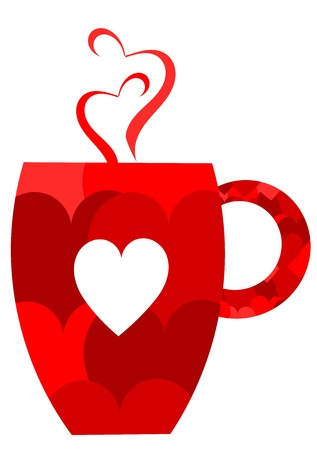 valentine day cup of coffee: Red heart valentine mug. Vector illustration Illustration