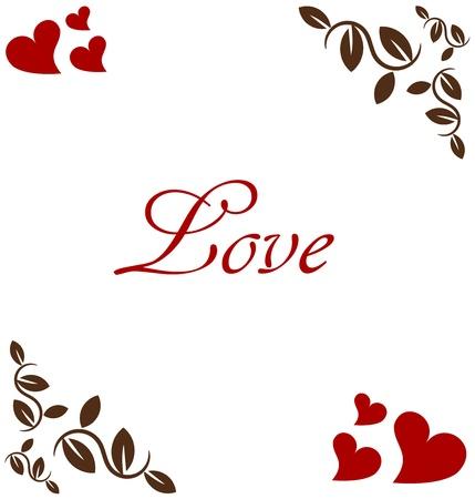 floral frame: Valentine card frame in vintage style Illustration