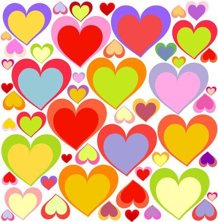 corazones azules: Fondo de corazones multicolores encantadora. Ilustraci�n vectorial