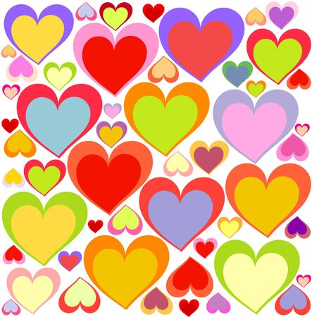 vector hearts: Lovely multicolored hearts background. Vector illustration Illustration