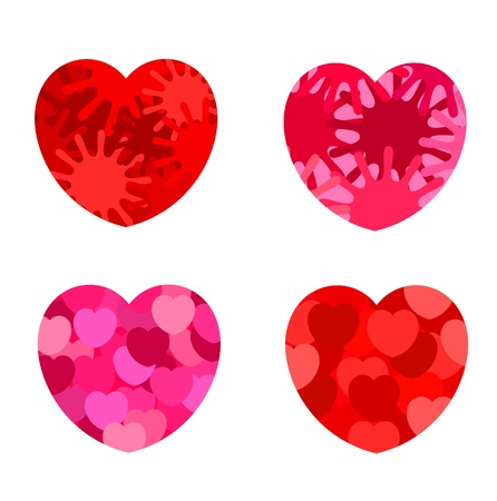 Set of four abstract hearts - red and pink. Valentine day Vector