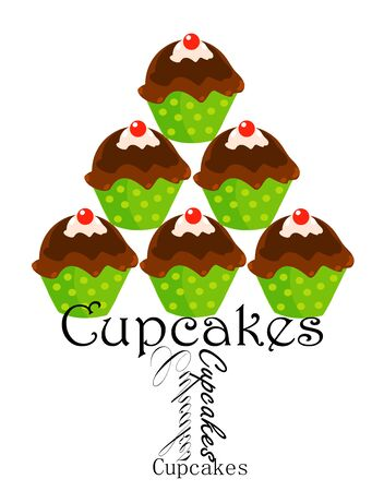 fairycake: Cute party cupcakes stack over white Illustration