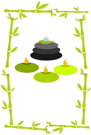 Spa concept vector illustration. Bamboo frame, candles and massage stones Vector