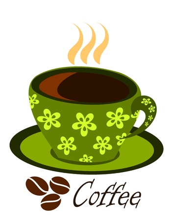 Green ornamented coffee cup with steaming espresso. Vector illustration Vector