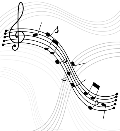 notes: Music - notes and staffs. Vector background