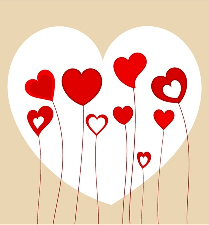 Funny red hearts growing on long stems. Vector illustration Stock Vector - 9426159