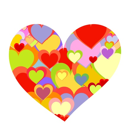 colourful candy: Big heart made of colorful smaller hearts. Valentine day Illustration