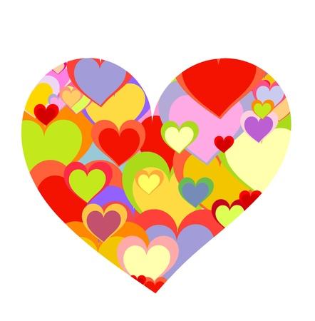 encantador: Big heart made of colorful smaller hearts. Valentine day Ilustração