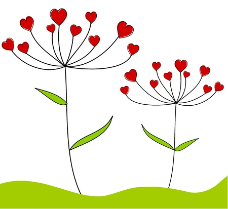 Valentine plants with flowers hearts - card design. Vector illustration Stock Vector - 9426161