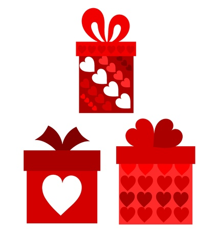 Red valentine present boxes. Vector illustration Stock Vector - 9426160