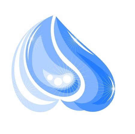 torrential: Shining water splash or drop. Vector illustration