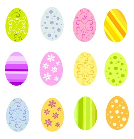 decorated: Set of various colorful Easter eggs illustration