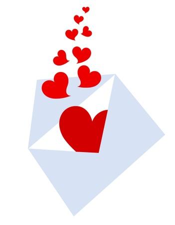 Liebesbrief mit Herzen