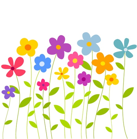 field of flowers: Colorful flowers growing on meadow. Vector illustration