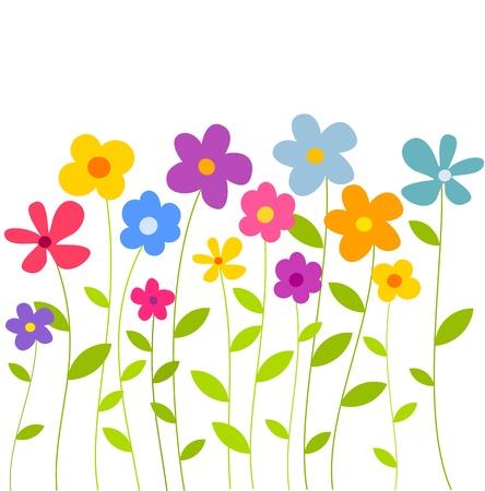 flores de cumplea�os: Coloridas flores que crecen en el Prado. Ilustraci�n vectorial Vectores