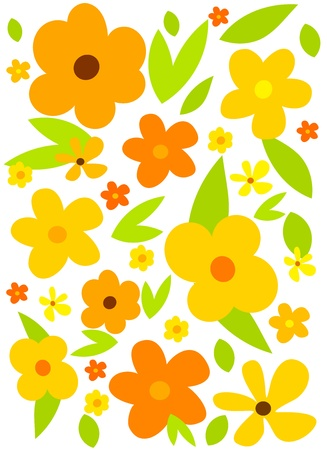 meadow flower: Flower background with yellow flowers. Vector