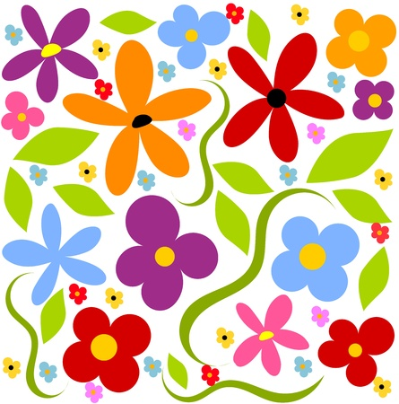 Flower meadow  background - colorful Vector