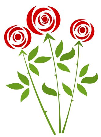 red rose bouquet: Red roses bunch. Vector illustration