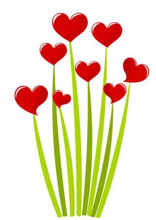 sweet grass: Red hearts growing on green stems - bouquet. Vector illustration