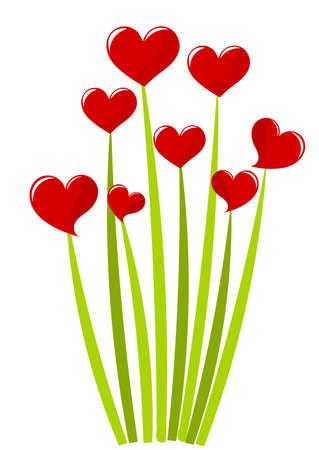Corazones rojos en tallos verdes - ramo. Ilustración vectorial