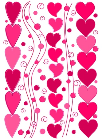 Valentine background with cute pink hearts. Vector illustration Stock Vector - 9481765